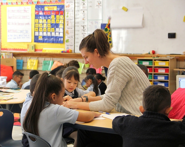 Teacher working with students at Rocky Mountain Prep