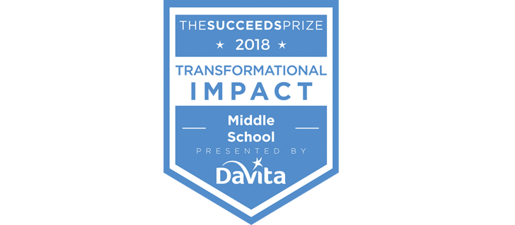 The Succeeds Prize Middle School Award banner