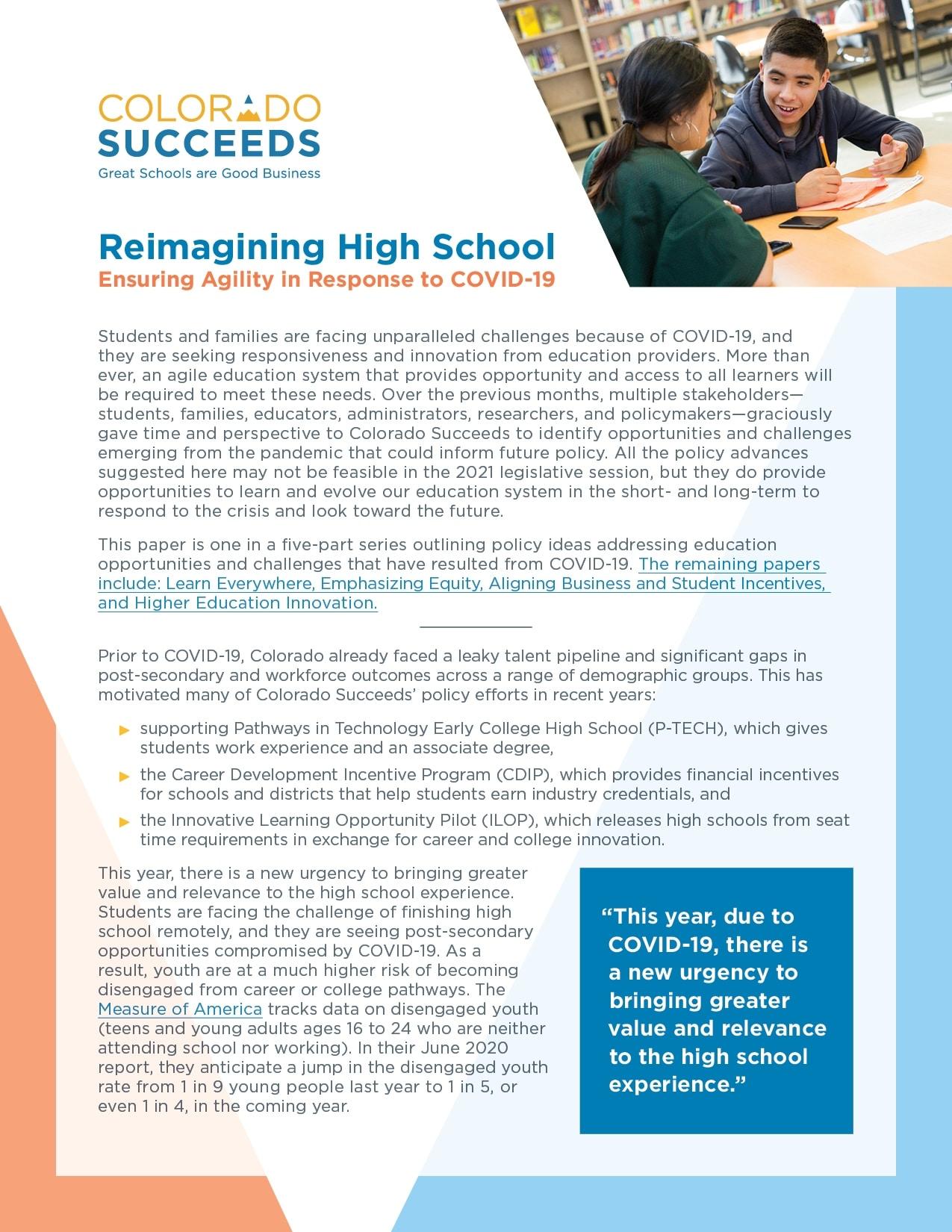 Colorado Succeeds PolicyPaper 2020 Reimagining High School
